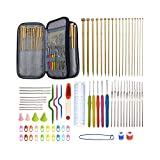 94 Pieces Crochet Hooks & Knitting Needles Set Kit - Portable Case, Contains All The Knitting & Crochet Accessories, Ideal Gift for Mom Grandma Girlfriend