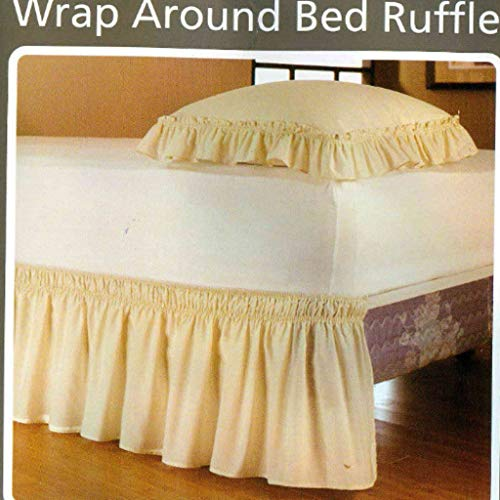 Elastic Bed Skirt, Pleated dust Ruffles Bedspread Ultra-Soft Around Solid Wrinkle and Fade Resistant Coverlet-Yellow-Queen:150200Cm