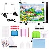 Accesorios de pintura de diamante 5D, almohadilla de luz LED A4, mesa de luz regulable, juego de herramientas de pintura de diamante DIY con 24 compartimentos, caja de clasificación de diamante