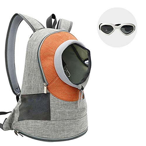 WLDOCA Pet Carrier Backpack, Adjustable Pet Front Cat Dog Carrier Backpack Travel Bag, Easy-Fit for Traveling Hiking and Bike Hiking Outdoor, Camping for Small Medium Dogs Cats, with Dog glasses