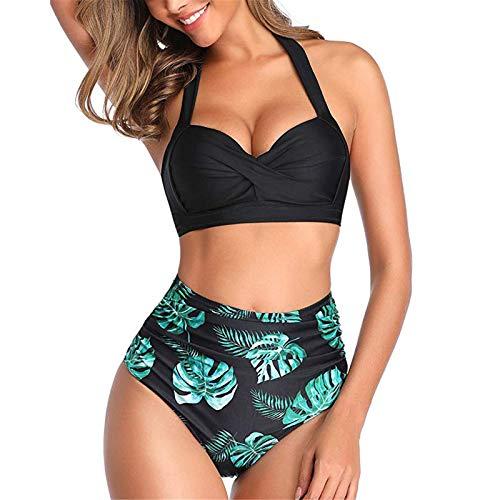 Damen Häkel Bikini mit V-Ausschnitt Bikini Set Zweiteiliger Hoch Taillierter Rüschen Bademode Push Up Frauen Vintage Swimwear