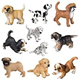 FLORMOON 10 unids Figura Animal Realista Figuras Lindas del Perrito Juego de Juguetes de Figuras de Perro Emulational pintadas a Mano Cachorro Bona Golden Retriever Cachorro dálmata para niños