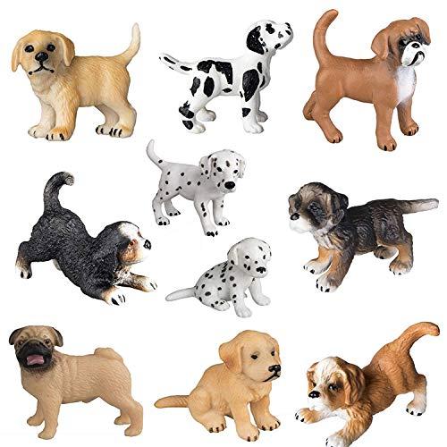 FLORMOON Hundefiguren Realistische Tierfigur 10pcs niedlichen Welpen Figuren handgemalte emulational Hund Figuren Spielzeug-Set, Bona Puppy, Golden Retriever, Dalmatiner Welpe für Kinder Kleinkinder