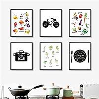 キッチンウォールアートキャンバスポスタープリント水彩ハーブ果物と野菜の絵画壁の写真キッチンの装飾-30X40Cmフレームなし