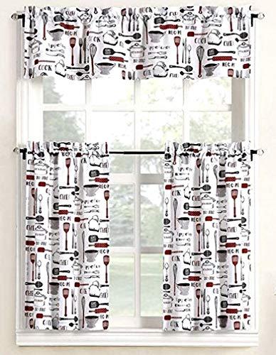 Home Fashions Bistro Chef Kitchen Window Curtain Set 3 Pc