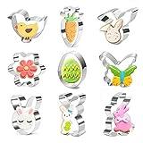Formine Biscotti Pasqua, Stampi per Biscotti Pasqua,9 Pezzi Set di Pasqua Formine per Biscotti,Acciaio Inossidabile Modello Pasqua Tagliabiscotti
