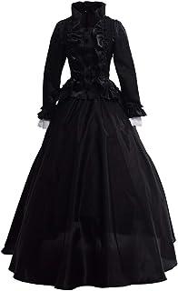 GRACEART Victoriana Vestido Delgado botón de Encaje Vestido renacentista (L, Negro)