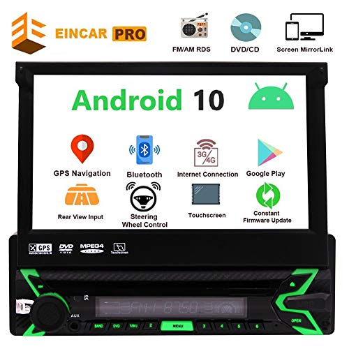 Android9.0 7inch Flip Out kapazitives Touch Screen 1Din Auto DVD CD Player 1024*600p 4Core Einzel-DIN-Radio GPS Auto Stereo Dash Head Unit Navi FM AM RDS Receiver Bluetooth Spiegel Link CAM-IN USB SD