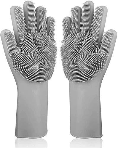 Premium Silikonhandschuhe zum Geschirr spülen (Schwarz) - Waschhandschuh aus Silikon mit großen Noppen zum Reinigen der Küchenutensilien