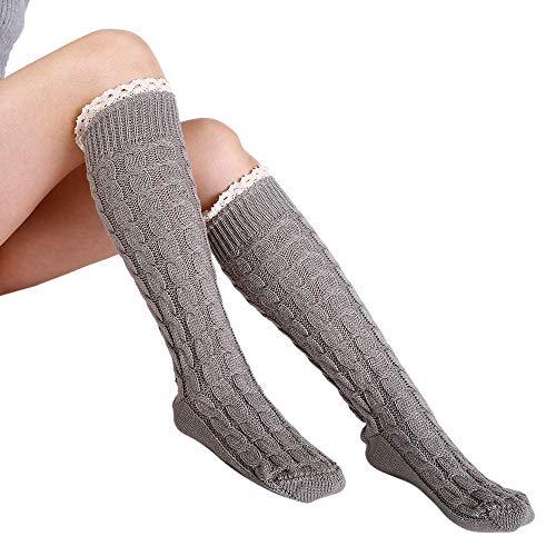 VEMOW Invierno Cálido Pierna Tejida Cálido Crochet Leggings Trenzado Encaje Botas Casual (Negro)