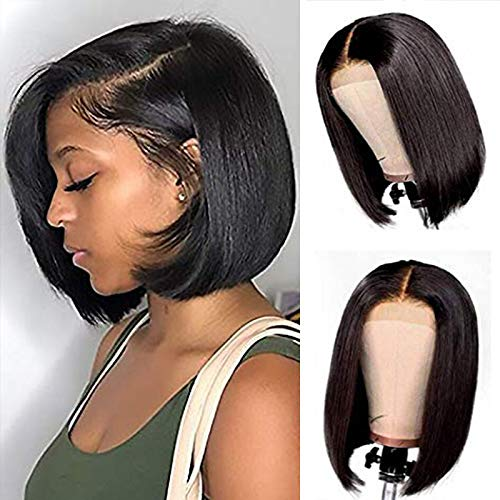 Short Bob Wigs for Black Women Brazilian Virgin Human Hair lace front wigs human hair Pre Plucked with Baby Hair 150% density (8inch)