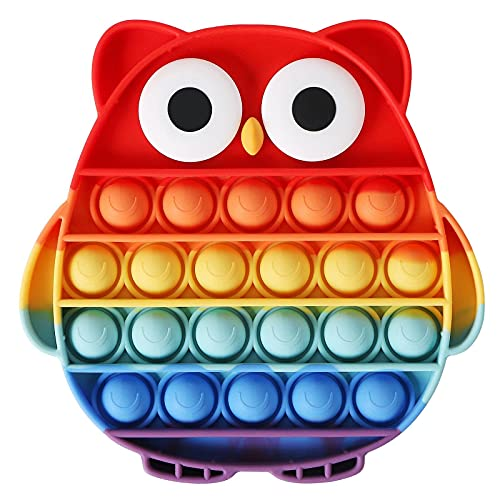 EVERMARKET Push Pop Bubbles Fidget Sensory Toy,Bubble Popper Stress Reliever Silicone Squeeze Toy,Anxiety Relief Tools Educational Popping Game Fidget Block Toy(Owl,Rainbow)