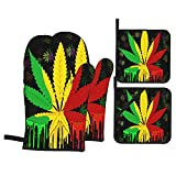 ASNIVI Guantes y agarraderas para Horno, Hierba de Hoja de Marihuana Reggae Rasta,Guantes Resistentes al Calor de hasta 300 ℃, Guantes aislantes ,adecuados para cocinar, Hornear, Asar a la Parrilla