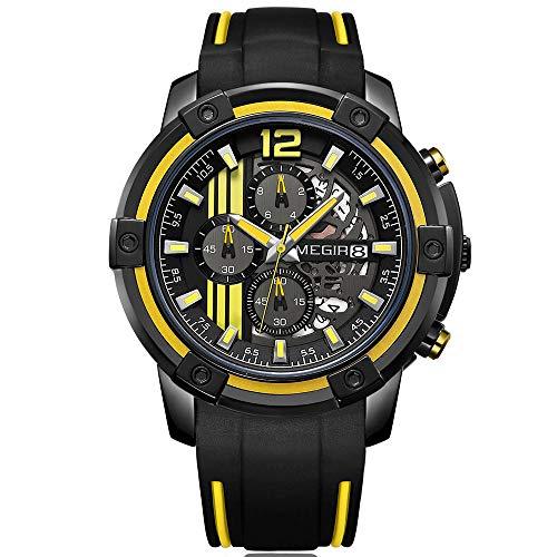 Megir Herren Uhren Luxus Sport Armbanduhr mit Schwarz und Gelb Silikonarmband Groß Chronograph Kalender Wasserdicht XL