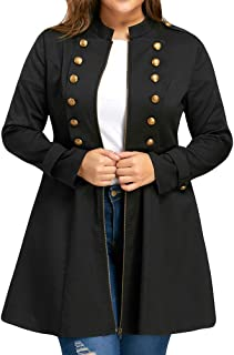 Winter Jacket for Women, Women Fashion Plus Size Vintage Longline Coat Double Breasted Flare Windbreaker
