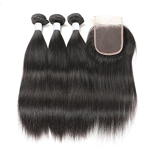 Wigs For Women Indian Straight Hair Bundles With Closure Remy Hair Weaves Human Hair Bundles With Closure Double Weft Hair Weave Extensions Women's Wigs