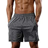 CARWORNIC Men's Athletic Gym Shorts Workout Running Bodybuilding Stretchy Sport Training Shorts Gray