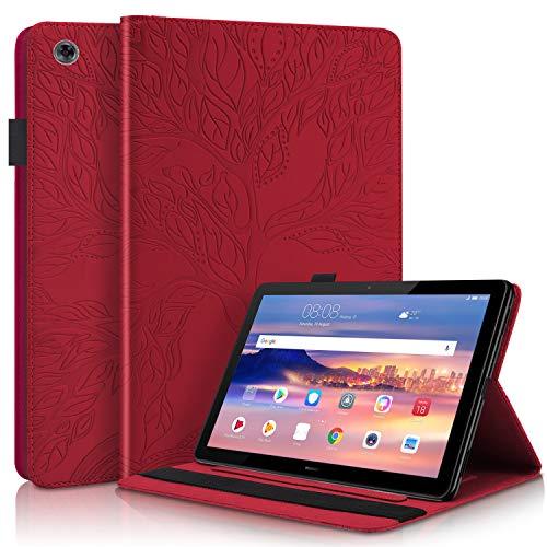 HülleFun Hülle für Huawei Mediapad T5 10 Baum des Lebens Ultra Slim TPU Schutzhülle Tasche Folio Flip Stand Cover mit Kartenfächern, Rot