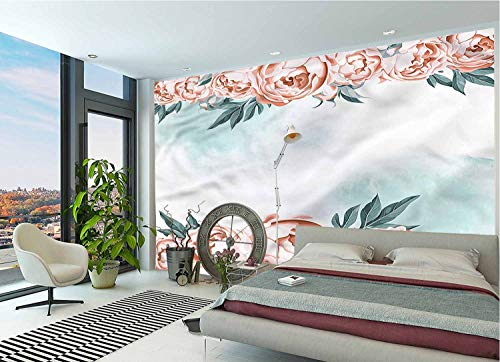 IRONANDGCFOXBOX Vintage Wall Stickers Murals,Rose Borders Aquarelle Art Large Photo Wallpaper for Office Livingroom Girls Bedroom Family Wall Decals-78x55 Inch