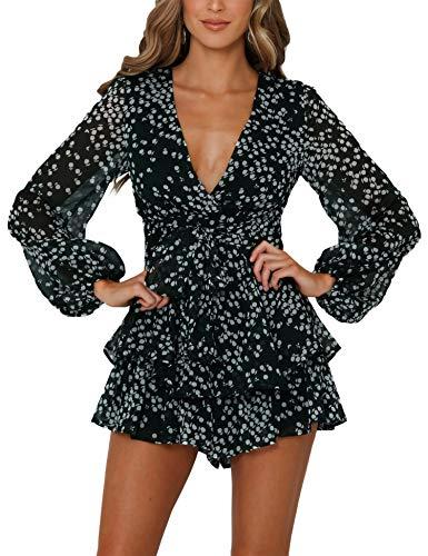 Relipop Women's Dresses Jumpsuit Floral Print V Neck Baggy Sleeve Waist Tie Double Layer Ruffle Hem Short Mini Dress Romper (T3, XX-Large)
