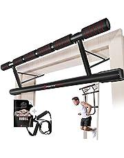 Sportstech uniek combinatiepakket! 4in1-optrekstang incl. Dip Bar & Power Ropes, opvouwbaar deurrek KS500, veilige montage in deurkozijn thuis zonder schroeven, pull-up stang voor Crossfit incl. e-book