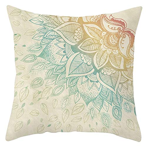 Agoble Cojines para Sofa, Funda Cojin Abstracto Poliéster 1 40X40cm Funda Cojin Amarillo Beige Mandala Flor Hoja