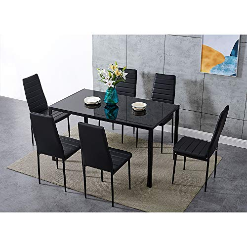 Dining Table and Chairs 6 Seater with Glass Room Leather Kitchen Furniture Set (Black Table140cm + 6 Black Chair)