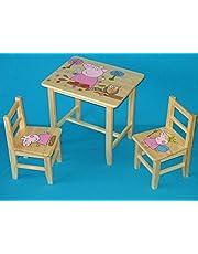 Juego de madera mesa con 2sillas para dormitorio infantil. M29. Otra idea de regalo.Completo de pino con dibujo a mano.