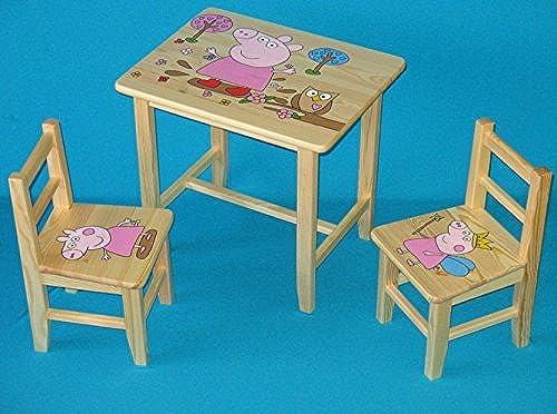 Envío rápido y el mejor servicio Juego de madera mesa con con con 2sillas para dormitorio infantil. M29. Otra idea de regalo.Completo de pino con dibujo a mano.  comprar descuentos