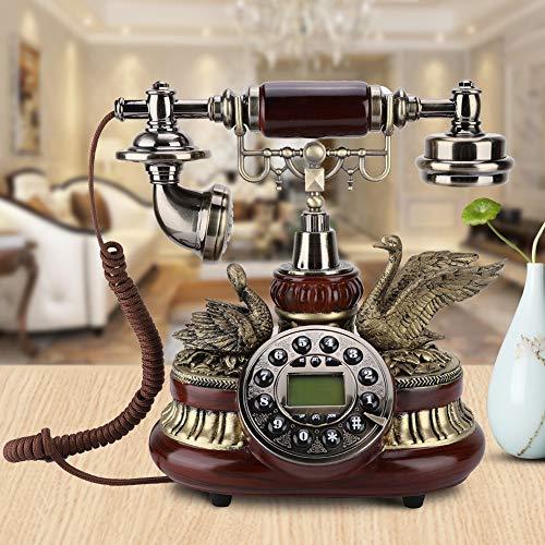Teléfono Antiguo, Teléfono Retro Vintage Teléfono Fijo Antiguo con Cable de Marcación Fija Sistema FSK/DTMF Identificador de Llamadas TeléfonoDecorativo del Hogar de la Oficina