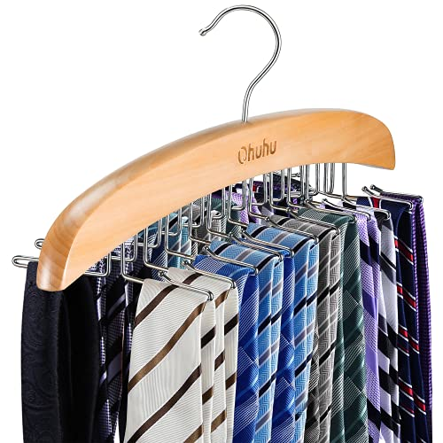 Tie Rack, Tie Organizer, Ohuhu 24 Wooden Twirl Tie Hanger, Closet Organizer and Storage Rack for Ties, Belts, Scarves, Accessories