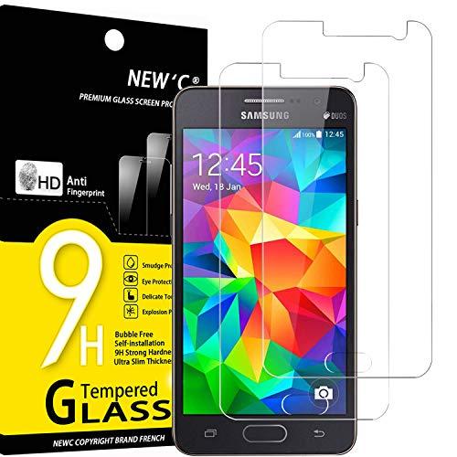 NEW'C 2 Pezzi, Vetro Temperato Compatibile con Samsung Galaxy Grand Prime, Pellicola Prottetiva Anti Graffio, Anti-Impronte, Durezza 9H, 0,33mm Ultra Trasparente, Ultra Resistente