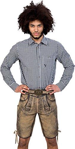Almwerk Herren Trachten Lederhose kurz Modell Otto mit Gürtel in braun, Dunkelbraun und Hellbraun, Größe:44 Farbe:Hellbraun