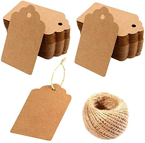 Kraft Paper Tags - 200PCS Kraft Paper Blank Gift Tags with 30 Meters Twine for Arts and Crafts, Wedding Christmas Thanksgiving and Holiday for Crafts & Price Tags Labels…