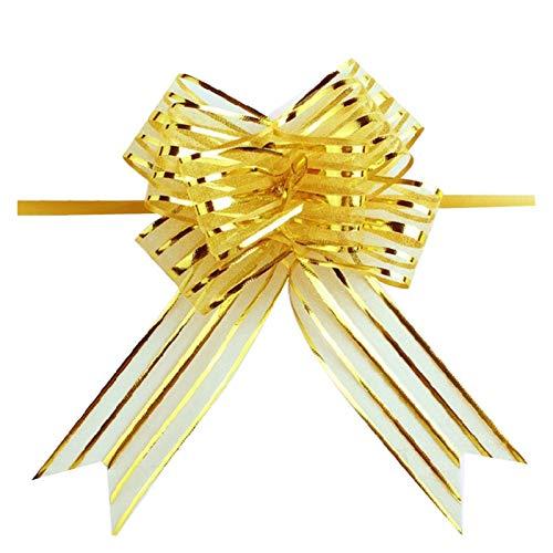 LEILEIMY Pacco Regalo 10pcs di Alta qualità Organza Pull Fiore Nastro Nastro Fiocco Regalo Wrap Candy Box Accessori Fai da Te Forniture di Arredamento Auto Pacco Regalo (Color : Gold)