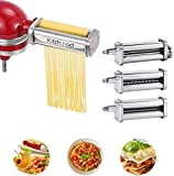 Pasta Attachment 3-Piece Set for KitchenAid Stand Mixers, Including Pasta Sheet Roller, Fettuccine and Spaghetti Cutter, Pasta Maker Accessories by Kitchood