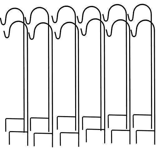 Ashman Shepherd's Hooks, Black, Set of 12 made of Premium Metal for Hanging Solar Lights, Bird Feeders, Mason Jars, Flower Basket, Christmas Lights, Lanterns, Garden Stakes and Wedding Decor