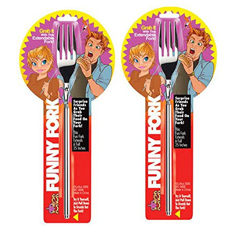 """Funny Fork - Telescopic Table Ware, Extendable to 25"""" inches (2)"""
