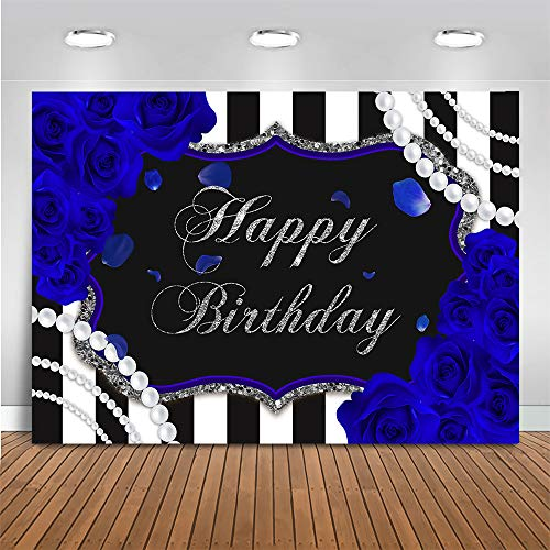 Mocsicka Blue Rose Birthday Backdrop for Women 7x5ft Black and White Stripes Background for Photography Sliver and Blue Rose Happy Birthday Party Banner Decor (7x5ft (82x60 inch))