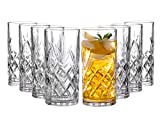 Clovelly Tall Highball Glasses Set of 8, 12 Ounce Cups, Textured Designer Glassware for Drinking Water, Beer,...