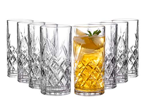 Clovelly Tall Highball Glasses Set of 8, 12 Ounce Cups, Textured Designer Glassware for Drinking Water, Beer, or Soda, Trendy and Elegant Dishware, Dishwasher Safe (Clovelly)