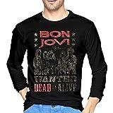 Bon Jovi ボン・ジョヴィ メンズ Tシャツ 長袖 クルーネック シャツ 吸汗速乾 無地 カジュアル スポーツ トップス ゆったり 薄手 4色 大きいサイズ
