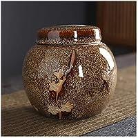 大人とペットの灰のための葬儀の壷、人間の小さな記念の壷、手作りの陶器の記念品、自宅または墓地の犬のための埋葬の壷、灰のためのペットの火葬の壷猫12 * 10.5cmの灰の棺