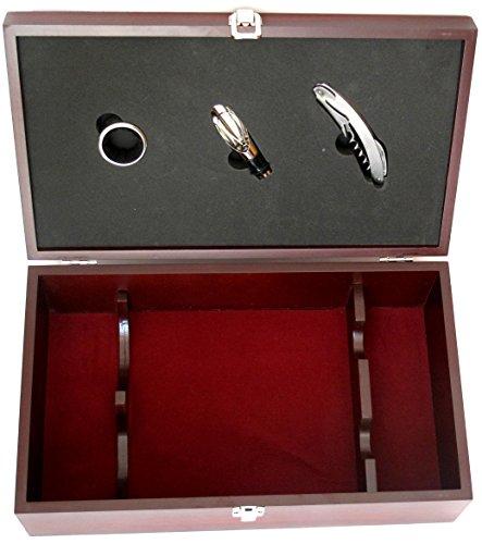 Expovinalia Set Wein für 2Flaschen mit 3Einsätzen, Edelstahl, Mahagoni, 36x 21x 12cm