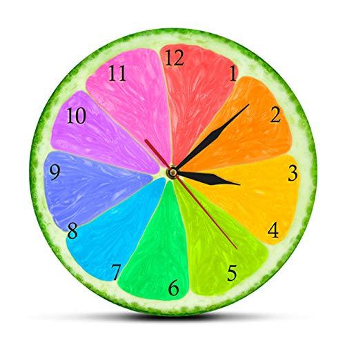 Reloj de Pared Citrus Rainbow Silencioso Sin tictac Sabores Naturales Decoración del hogar Pomelo Lima Rebanada Rueda de Color Colgante