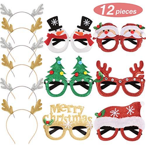 Willbond 12 Piezas de Diademas de Asta de Brillo y Anteojos de Brillo Navideño Disfraz de Decoración Gafas de...
