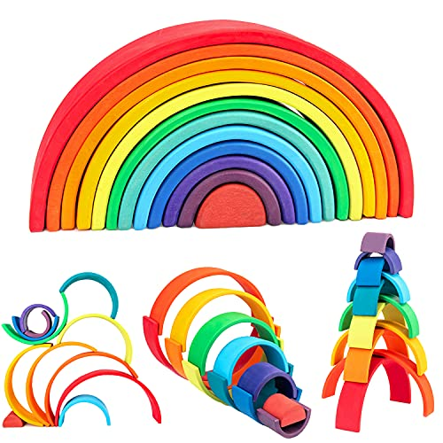 WOOD CITY Rainbow Stacking Toys, 12-Piece Double Natural Wooden Rainbow Stacker, Waldorf & Montessori Toys for Toddlers, Colorful Stacking Blocks Puzzles for Kids 2 3 4 5 Years Old