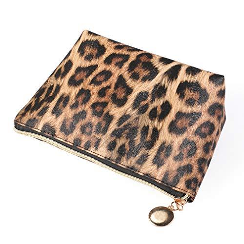 #N/A Schwenly Leopard Print Makeup Bag Soft Faux Leather Vintage Zipper Travel Cosmetic Pouch,Couleur Claire Grand (1)