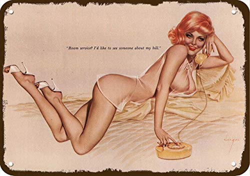 Laptopo 1961 Alberto Vargas Art Vintage-Look Metal Sign Sexy Red-Head Woman Pinup Pin-UP
