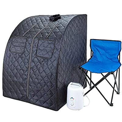 Durasage Oversized Portable Steam Sauna Spa for Weight Loss, Detox, Relaxation at Home, 60 Minute Timer, 800 Watt Steam Generator, Chair Included, 1.5 Year Warranty